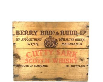 Vintage Whiskey Crate Wooden Crate Cutty Sark Nautical Wood Wine Crate Vintage Imported Scotch Whisky Wood Crate