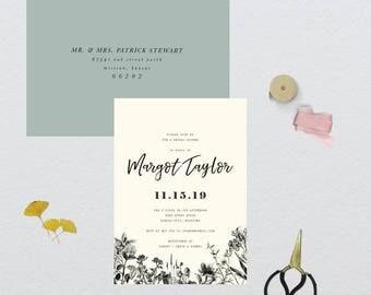 Rustic Vintage Botanical Bridal Shower Invitation // 5x7 DIY PRINTABLE Invitation // Bridal Shower, Invitation, Shower the Bride