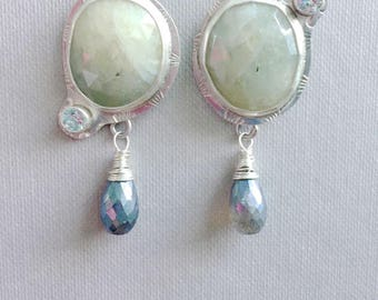 White Sapphire Earrings - Aquamarine, Sapphire and labradorite, One of a Kind pair, Wedding jewelry, Bridal earrings, Sapphire Earrings