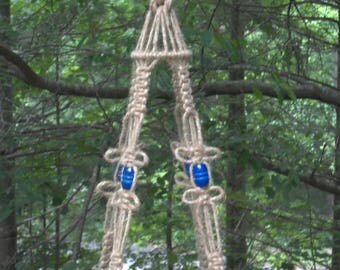 Jute Macrame Plant Hanger with Blue Wooden Barrel Beads