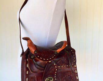 Vintage Mexican Brown Hand Tool Leather Saddle Handbag/Purse/Tote Country Western