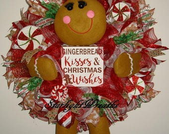Gingerbread Girl Mesh Wreath, Gingerbread Mesh Wreath, Holiday Wreath, Christmas Wreath