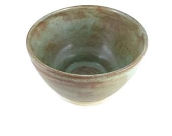 Jade green and brown - medium bowl - snack bowl - pottery bowl