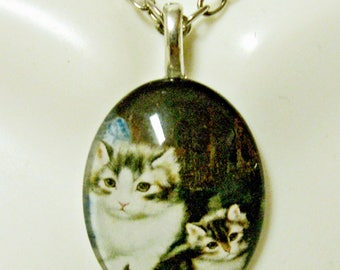 Black and white cats pendant and chain - CGP12-030