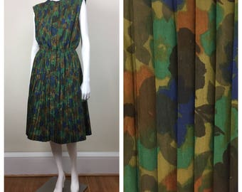 dark floral watercolor print sleeveless pleated shirtdress 60s