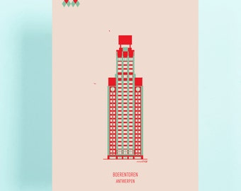 Postcards Antwerp: Boerentoren, Centraal station, Koninklijk museum voor schone kunsten, Onze-Lieve-Vrouwekathedraal