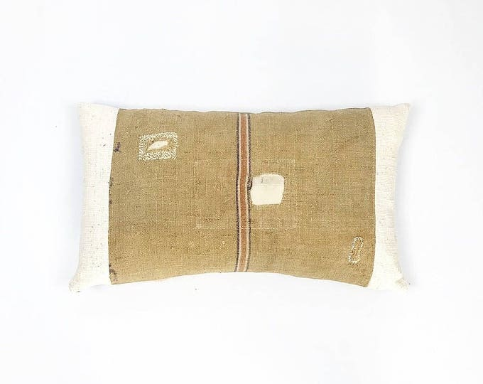 Vintage Grain Sack And African Mudcloth Lumbar Pillow Cover 14x24