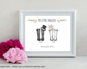Personalised Welly Boot Print, Wedding Welly Boot Print, Wellington Boot Print, First Anniversary Gift, Paper Anniversary, UNFRAMED PRINT