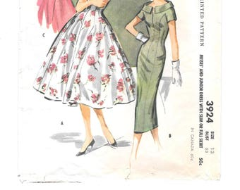 1950s DRESS Vintage Sewing Pattern ~ Rockabilly ~ Wide Bateau Neck ~ Stand-Up Rolled Collar ~ Princess Seams ~ Back Belt - Size 13, Bust 33