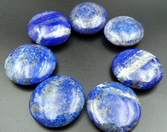 Stunning Lapis Lazuli Circular Palm Stone Disc - Genuine Natural Third Eye Crystal - For Boosting Intuition and Empath Protection 35-38mm