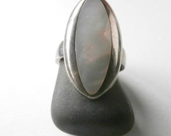 Statement Ring - Vintage - Mother of Pearl Ring - Sterling Silver - Long Ring