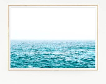 Sea Waves Wall Decor Print Poster Tropical Beach Marine Retro Vintage Colour Photo Nature Sea Minimalist Blue Sky Water Photography 1049