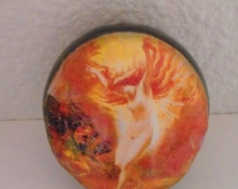 "Descending Winged Goddess 1 1/2"" ceramic smoking stone"