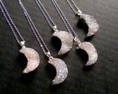 Aura Druzy Necklace Moon Druzy Pendant Silver Moon Druzy Necklace Angel Aura Druzy Silver Edged Drusy Druzy Jewelry Stone Moon Necklace Boho