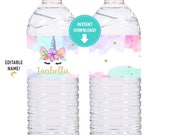 Watercolors and Gold Unicorn Labels for Water Bottles, Milk Bottles, Unicorn Birthday Party - Printable INSTANT Download
