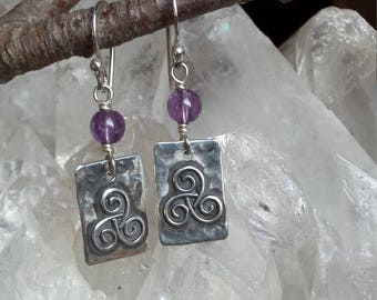 Sterling Silver Tag Earrings with Triskel