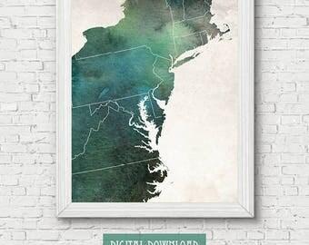 Midatlantic Etsy - Us mid atlantic region map
