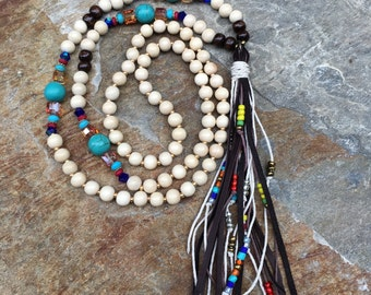 Long beaded leather tassel necklace czech glass beads wood beads turquoise blue stone bohemian tassel necklace boho jewelry tassel necklace