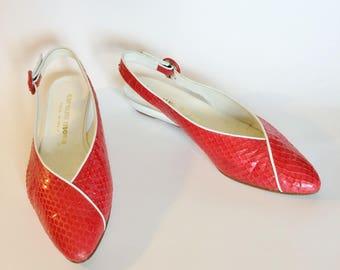 Snakeskin Shoes Slingback Flats / Vintage Red & White Italian Leather Wedge Kitten Heels Size 7.5 / 80s Women's Garolini in Original Box
