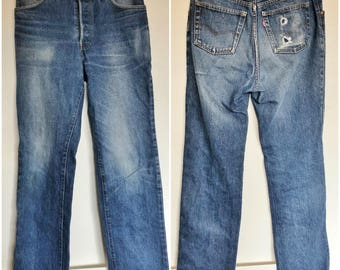 Levis High Rise Stove Pipe Jeans / Vintage Faded Broken-In Distressed High Waisted Denim 30 x 32
