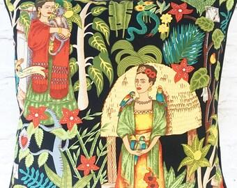 "Frida Kahlo cushion pillow cover - 18"" 45cm - 16"" 40cm - unusual home decor - quirky present for artist - cream, tea or black"