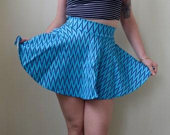Blue zig zag pattern mini belle skirt- S