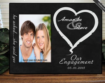 She Said Yes Personalized Engagement Picture Frame