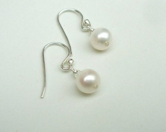 Tiny Freshwater pearl drop earrings Sterling Silver or Gold Fill small pearl bridal earring simple pearl bridesmaid earring wedding jewelry