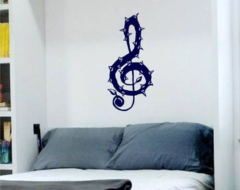 Treble Clef With Thorns Decal 22 inches heavy metal sticker cool music decoration removable killer rock and roll Musical Note AB22