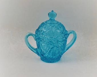 Turquoise Crystal Lidded Candy Dish, Cut Glass