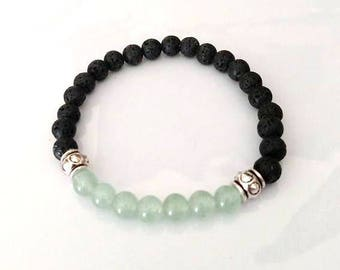 Chakra Bead Green Aventurine Lava Bead Essential Oil Aromatherapy Yoga Relaxation Therapeutic Stretch Bracelet