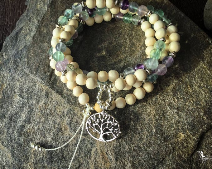 Tree of Life meditation Mala beads with fluorite japa 108 beads for your mantras - inspired jewelry by Creations Mariposa