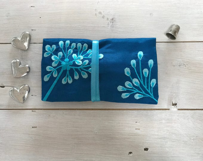 Handmade Silk Jewellery Roll with Embroidery, Fairtrade