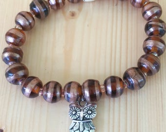 Swirling Brown Glass Beads Featuring a Silver Owl Charm Stretchy Bracelet