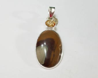 Imperial Jasper, Citrine, Sterling Silver Pendant, .925 Sterling Silver, Necklace, Focal, Beading, Jewelry, Supplies, Supply