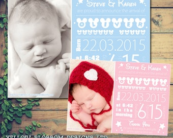 10 New Born Baby Announcement Thank You Cards Boy Girl Twins Unisex Mickey Minnie Printed Photo Personalised Bespoke Mouse Blue Pink Cute