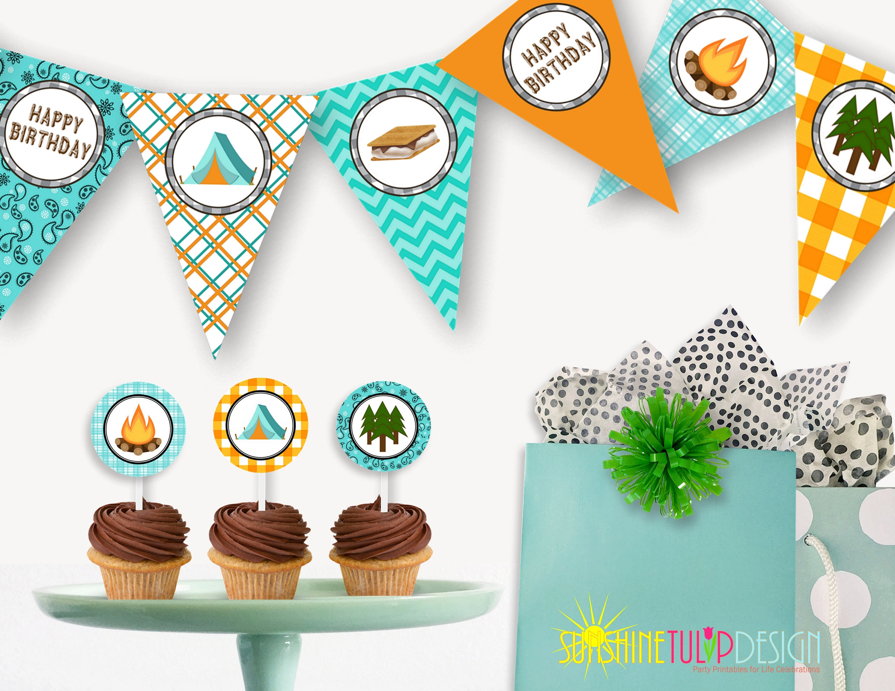 printable campout birthday banner printable camping birthday