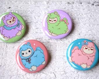 Kawaii Alpacas Buttons / Magnets ( pack button pins cute flair pinback pin magnet )