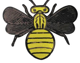XXXL Extra Large Stunning Sequin Bee Patch 31cm Applique
