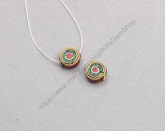 12mm 2Pcs Tibetan Brass Beads Nepal Style Bead Handmade Supplies Wholesale GY-S092901