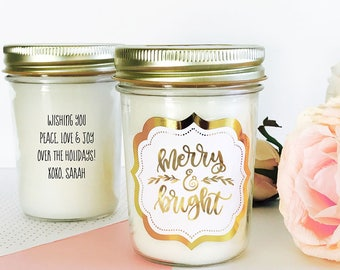 Christmas Candle Gift Holiday Candle Gift Merry and Bright Candle Christmas Gifts for Friends Holiday Gifts for Coworkers (EB3178FH)