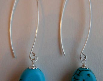 Turquoise Howlite Sterling Silver Earrings CSS125E