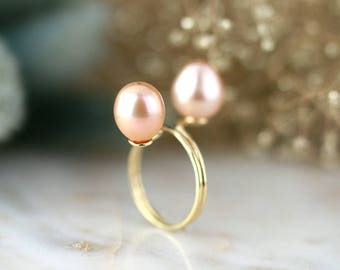 Curved Twin Freshwater Peachy Pink Pearl Ring | Solid 14K Gold | Fine Jewelry | Free Shipping