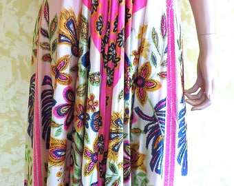Colorful 1970's Polyester Floral Print Halter Gown