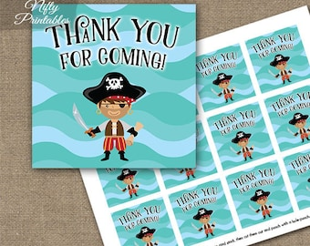 Pirate Thank You Favor Tags - Pirate Birthday Party Thank You For Coming Tags - Boys Birthday PIR1