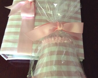 NEW OFFERING! Adorable Dupioni Silk Checked Photo Album and Matching Nightlight!   Perfect for the New Baby Gift!