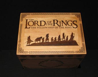 Fellowship of the ring, lord of the rings,wooden chest,wood box