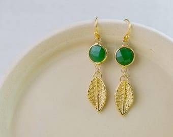 Jade green color earrings, Green earrings, gold leaf, green glass, 24K gold plated jewelry, nature earrings, gold and green earrings,