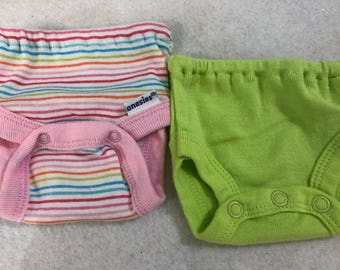 Baby Doll Diaper Covers, Panty, 15 inch AG Bitty Baby Clothes or Twin, Fits 16 inch Cabbage Patch, SET of 2 for 3.00, Pink STRIPES & Green