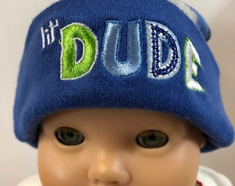 "15 inch Bitty Baby Doll Hat, Cool Blue Camouflage ""LIL' DUDE"" Doll HAT, 15 inch Bitty Baby Clothes or Twin Doll, 15 inch Baby Doll Clothes"